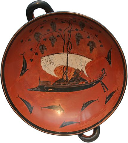 Ancient Greek pottery showing Dionysus in ship with grapevine, surrounded by former sailors now dolphins (Source: Wikipedia)