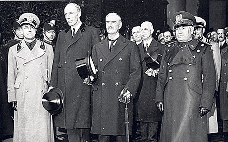 Lord Halifax,  second left, and Neville Chamberlain,  third left, meeting Mussolini in Rome