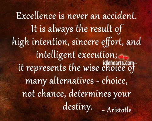 Aristotle Quote Excellence Is Never an Accident