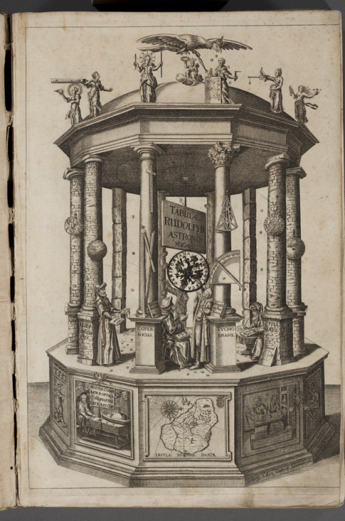 Frontispiece to the Rudolphine Tables (Latin: Tabulae Rudolphinae) consisting of a star catalogue and planetary tables published by Johannes Kepler in 1627, using some observational data collected by Tycho Brahe