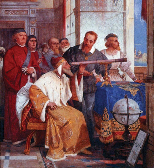 Galileo showing his telescope to the Doge of Venice